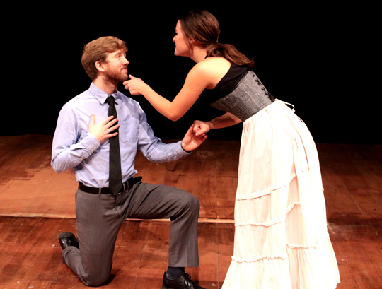 "Earnest, a.k.a. Jack (Nolan Thomaswick), with his love interest, Gwendolyn (Christina Pinciotti), in a rehearsal scene from UT's production of ""The Importance of Being Earnest."""