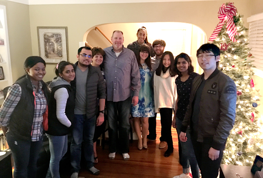 Cheryl Thomas, executive assistant in the Center for International Studies and Programs, and her husband, Dave, welcomed international students to their Thanksgiving gathering.