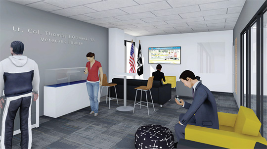 This rendering shows what the Lt. Col. Thomas J. Orlowski '65 Veterans Lounge may look like when finished on the second floor of Carlson Library this summer.