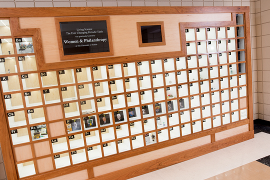 """Living Science: The Ever-Changing Periodic Table"" is located in the main entrance of Wolfe Hall."