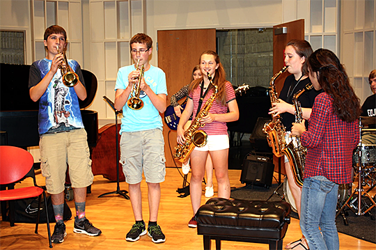 A photo of students rehearsing at a Jazz Jam Camp at UToledo