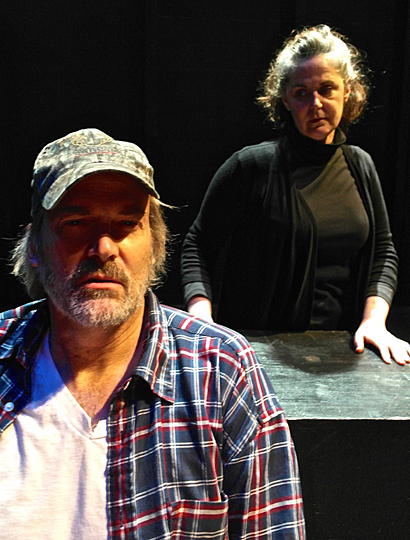 "Glacity Theatre Collective members James Trumm and Pamela Tomassetti Hulbert rehearsed a scene from ""Buried Child."""