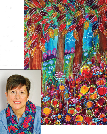 "Laura Miller and her painting, ""Healing Meadow,"" acrylic"