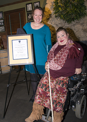 Dr. Kim Nielsen, left, announced a new award named in honor of Shelley Papenfuse. The first Papenfuse Prize in Disability Studies will be awarded in April.