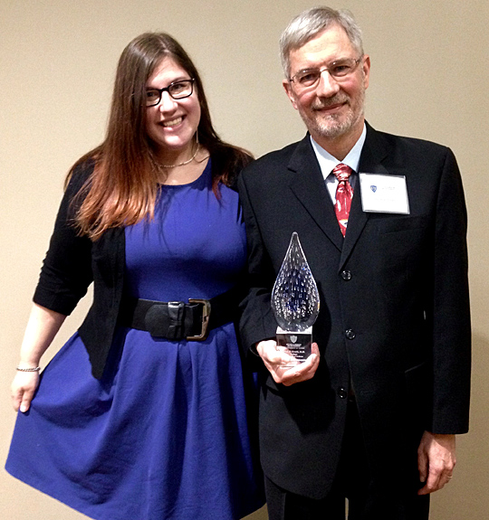 : Dr. Blair Grubb posed for a photo with his daughter, Helen, after receiving the UT College of Medicine and Life Sciences' Career Achievement Award in January.