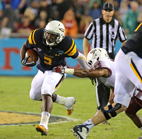 Junior running back Kareem Hunt, who ran for two touchdowns and 79 yards in Toledo's 32-17 win over Temple in the Marmot Boca Raton Bowl, and the Rockets return to the field to practice this week.