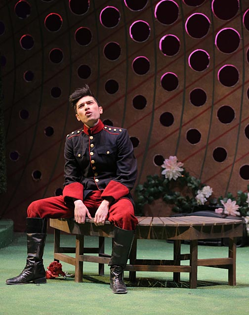 """Andrés Medina, a theatre student shown here in a scene from the 2015 UT production of Shakespeare's """"Twelfth Night,"""" is directing """"No  Exit."""""""