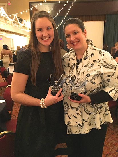 UT graduate student Nora Riggs, left, and Katie Bush, UT clinical simulation and educational research associate, received Liberator Awards for their work to help fight human trafficking.