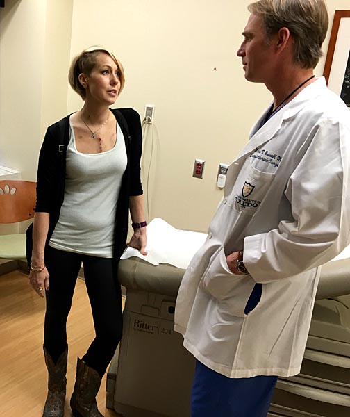 Stacy Rollins talked with UT Health cardiothoracic surgeon Dr. Mark Bonnell during a recent checkup. She is sharing her story during American Heart Month.