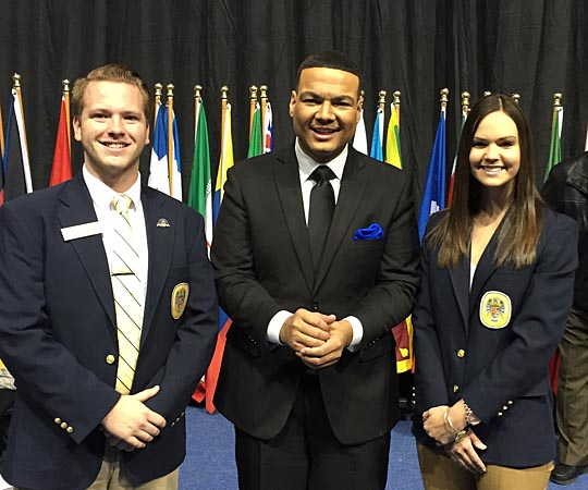 UT students and Presidential Ambassadors Alec Falkenberg, left, and Kylie Koesters posed for a photo with WTOL's Andrew Kinsey during the Dr. Martin Luther King Jr. Unity Celebration last month in Savage Arena.