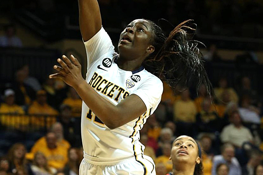 Junior Janice Monakana and the Rockets will play Akron Wednesday, March 9, in the MAC Tournament in Quicken Loans Arena in Cleveland.