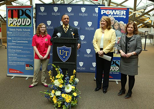 Toledo Public Schools Superintendent Romules Durant spoke at a press conference last week along with, from left, TPS and UT student Taylor O'Toole, UT President Sharon L. Gaber and Professor Rebecca Schneider. The four announced a collaboration between UT and TPS that will allow more high school students like O'Toole take college classes.