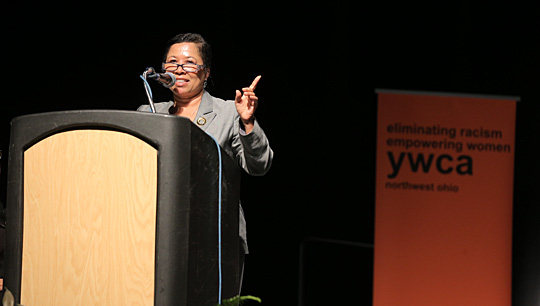 Dr. Celia Williamson spoke at the YWCA Milestones: A Tribute to Women, where she was recognized in the social services category for her efforts to fight human trafficking.