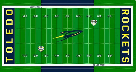 This rendering shows what the new FieldTurf surface may look like in the Glass Bowl.