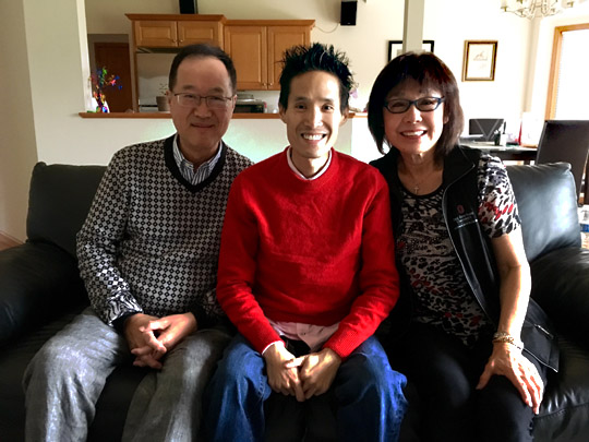 Dr. Cyrus Chan, center, at his home with his parents, Maria Chan, right, who lives in San Francisco, and Channy Chan, who lives in China.
