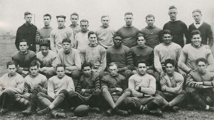 Historic posed team photo of 1922 football players
