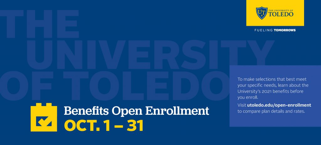 Poster with Dates for Benefits Open Enrollment Oct. 1-31