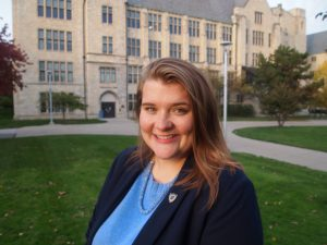 Rebecca Dangler posed outside University Hall
