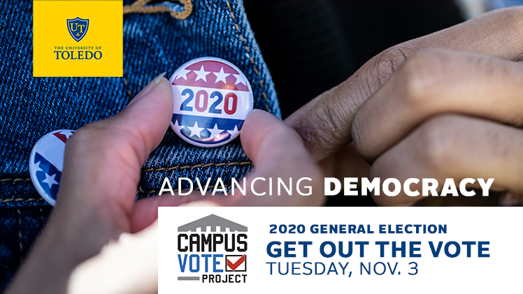 2020 election button on a jacket lapel with Get out the Vote messaging