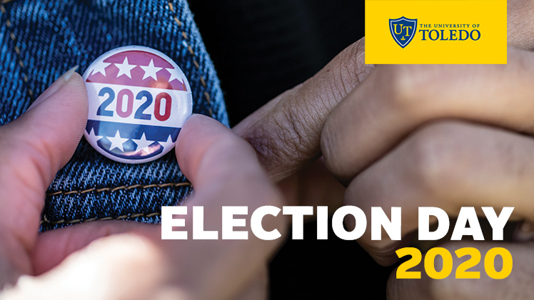 2020 pin on lapel of denim jacket with words Election Day 2020