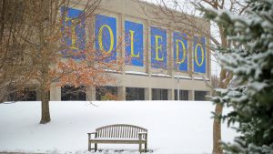 Student Union with large letters spelling TOLEDO