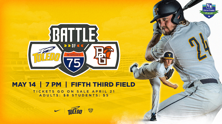 Yellow graphic with baseball players and information about the game time